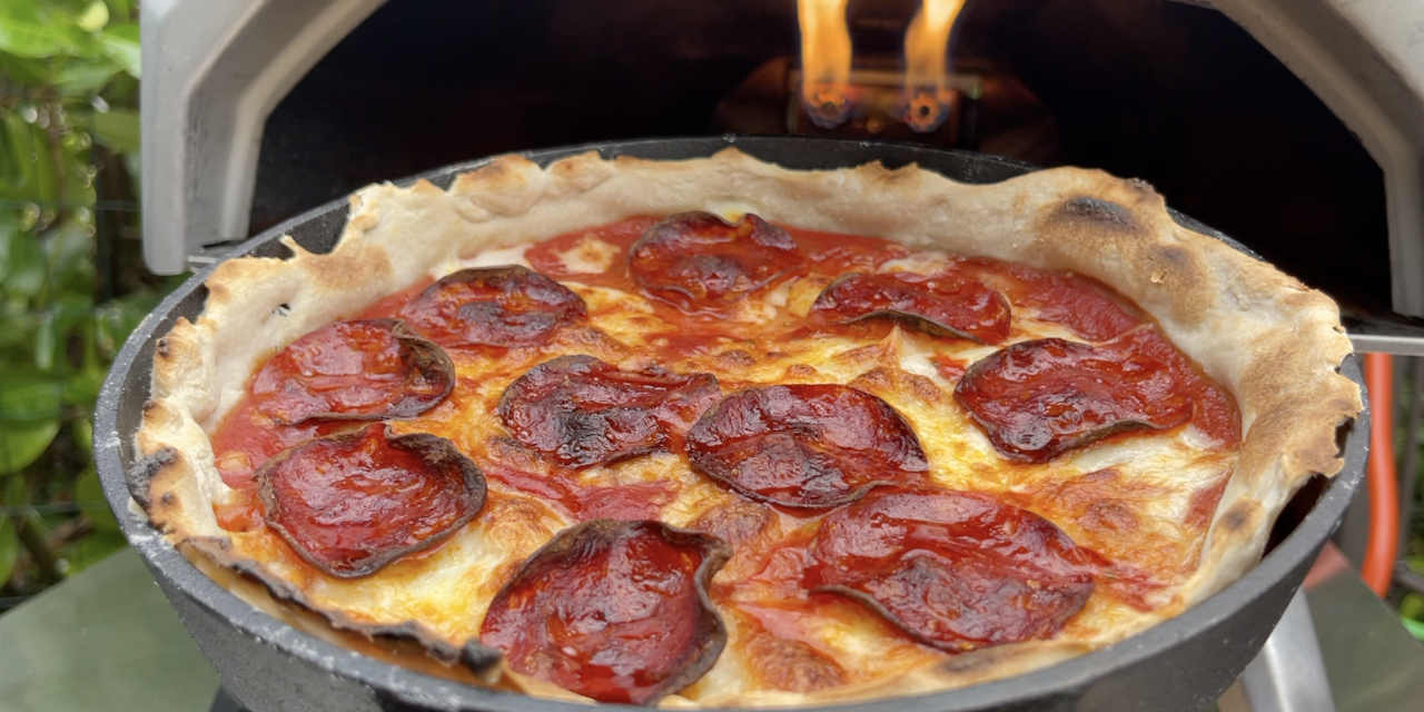 Cast Iron Pan Pizza using the Ooni Karu 12